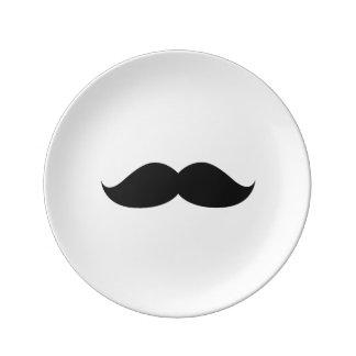 Assiette En Porcelaine Moustache noire drôle mignonne