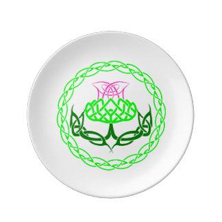 Assiette En Porcelaine Noeud écossais de Celtic de chardon