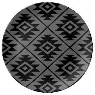 Assiette En Porcelaine Noir stylisé d'atterrisseur Ptn de symbole aztèque