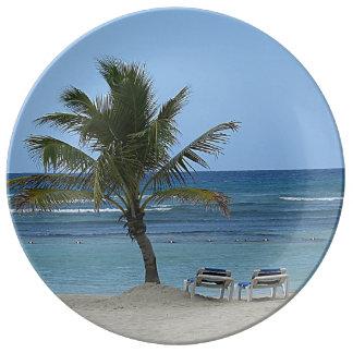 Assiette En Porcelaine Palmier sur la plage