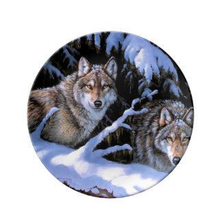 Assiette En Porcelaine Peinture de loup - deux loups - loup arctique
