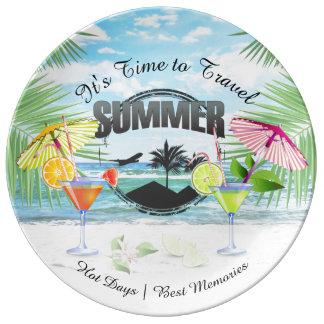 Assiette En Porcelaine Plage tropicale, vacances d'été   personnalisée
