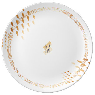 Assiette En Porcelaine Plat abstrait d'accent de feuille d'or de faux de