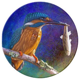 Assiette En Porcelaine Plat bleu de martin-pêcheur