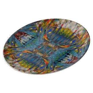 Assiette En Porcelaine Plat d'Abstractorcelan de fenêtres en verre teinté