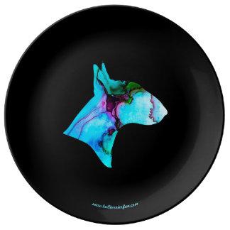 Assiette En Porcelaine Plat de deco de silhouette de bull-terrier