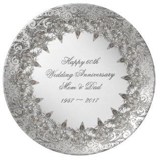 Assiette En Porcelaine Plat de porcelaine d'anniversaire de diamant