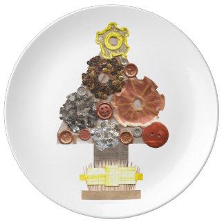 Assiette En Porcelaine Plat de porcelaine d'arbre de Noël de Steampunk