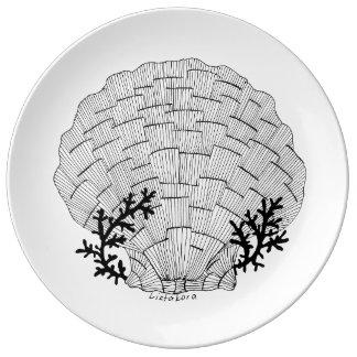 Assiette En Porcelaine Plat de porcelaine de coquillage de Listakora -