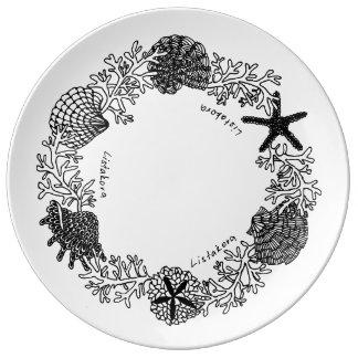 Assiette En Porcelaine Plat de porcelaine de guirlande de coquillage de