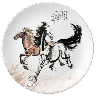 Assiette En Porcelaine Plat de porcelaine de peinture de cheval de Xu