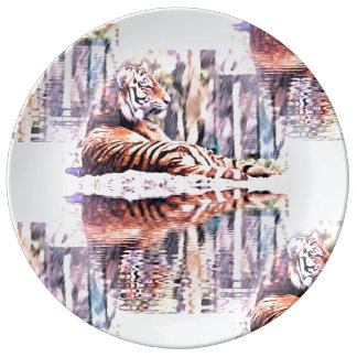Assiette En Porcelaine Plat de tigre