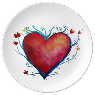 Assiette En Porcelaine Plat décoratif de porcelaine de coeur d'aquarelle