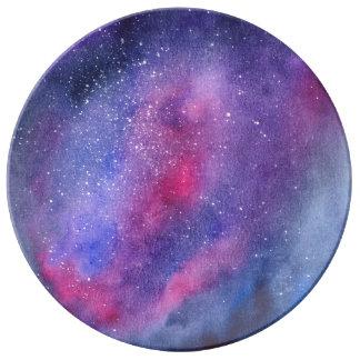 Assiette En Porcelaine Plat décoratif de porcelaine de galaxie