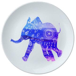 Assiette En Porcelaine Plat décoratif de porcelaine de mandala bleu