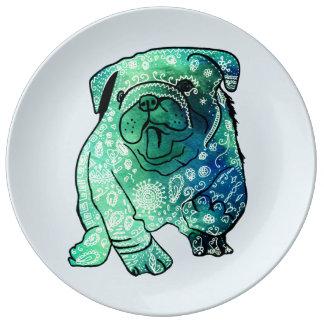 Assiette En Porcelaine Plat décoratif de porcelaine de mandala de