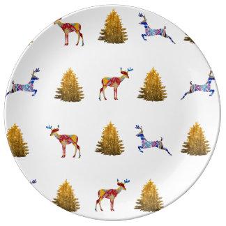 Assiette En Porcelaine Plat décoratif de porcelaine de Noël sauvage