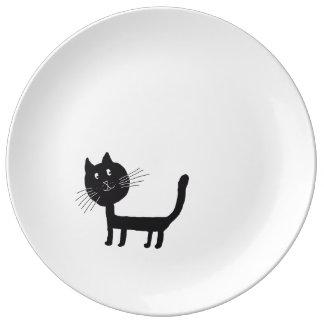 Assiette En Porcelaine Plat décoratif noir heureux de porcelaine de