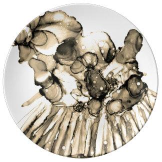 Assiette En Porcelaine Plat décoratif or d'encre vintage d'abrégé sur