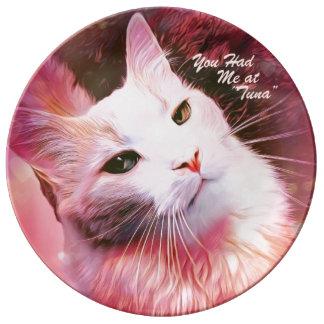 Assiette En Porcelaine Plat drôle de Valentine d'amour de coeur de rose