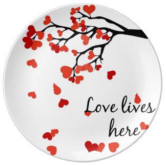 Assiette En Porcelaine Plat en baisse de décoration d'arbre de coeur