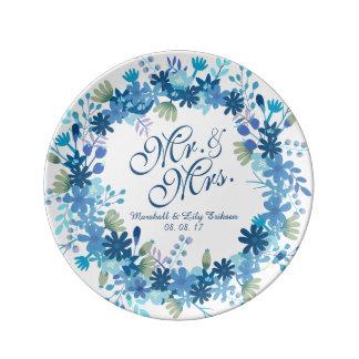 Assiette En Porcelaine Plat floral personnalisé de porcelaine de mariage