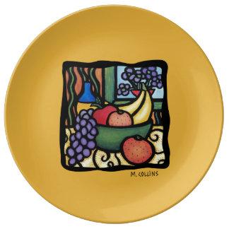 Assiette En Porcelaine Plat mélangé de porcelaine de jaune de fruit d'art