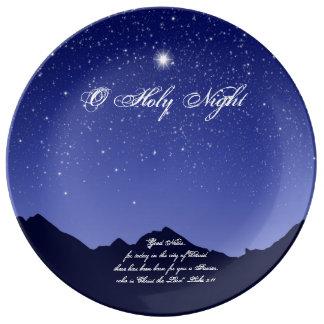 Assiette En Porcelaine Plat saint de porcelaine de Noël de nuit d'O