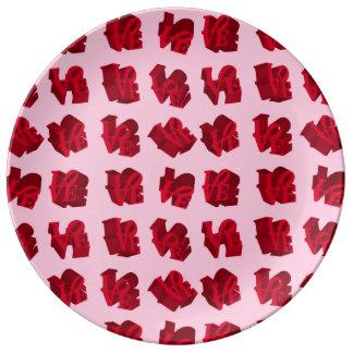 Assiette En Porcelaine Plats de conception d'icône d'AMOUR - rouge et