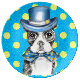 Assiette En Porcelaine Point de polka de Boston Terrier