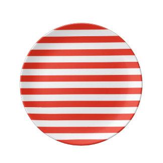 Assiette En Porcelaine Rayures rouges horizontales