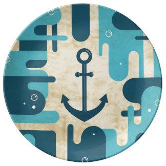 Assiette En Porcelaine Rétro conception nautique turquoise d'ancre