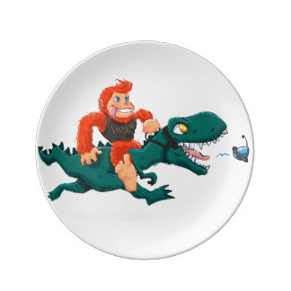 Assiette En Porcelaine Rex-bande dessinée Bigfoot de la Bigfoot-bande