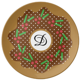 Assiette En Porcelaine Rouge de beignet de Noël de houx + Le vert arrose