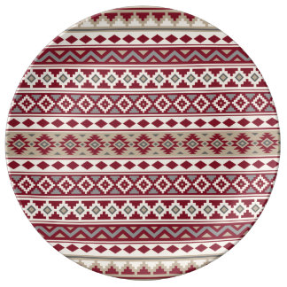 Assiette En Porcelaine Sable crème d'essence de gris rouges aztèques de