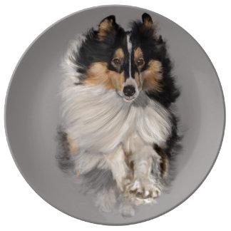Assiette En Porcelaine Sheltie sur le mouvement