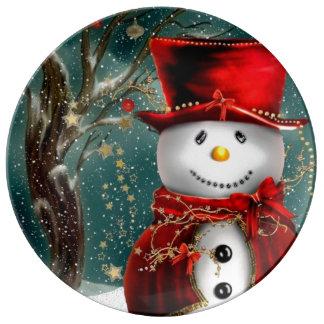 Assiette En Porcelaine Snowmans mignons - illustration de bonhomme de