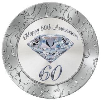 Assiette En Porcelaine Soixantième plats d'anniversaire de diamant