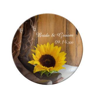 Assiette En Porcelaine Souvenir occidental de mariage de tournesol de