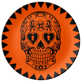 Assiette En Porcelaine Sucrez le plat de crâne, jour des morts