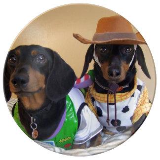 Assiette En Porcelaine Teckel drôle - cowboy de chien