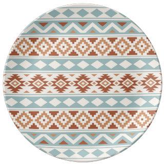 Assiette En Porcelaine Terres cuites bleues crèmes aztèques de Ptn IIIb