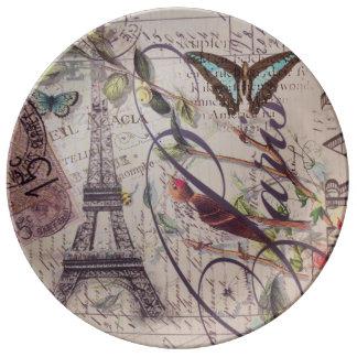 Assiette En Porcelaine Tour Eiffel français de Paris de papillon d'oiseau