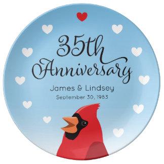 Assiette En Porcelaine trente-cinquième Anniversaire, cardinal et coeurs