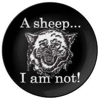 Assiette En Porcelaine Un mouton, je ne suis pas