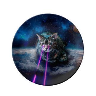 Assiette En Porcelaine Yeux de laser de chat - chats dans l'espace