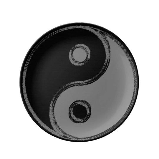 Assiette en porcelaine Yin Yang Noir/Gris