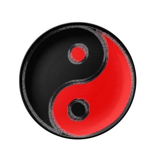 Assiette en porcelaine Yin Yang Noir/Rouge