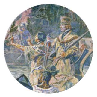 Assiette explorateurs et squaw célèbres