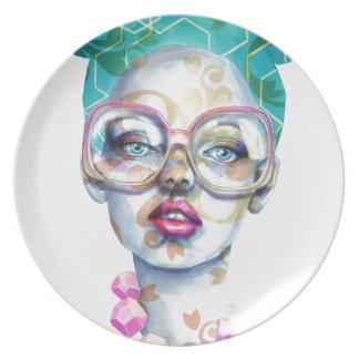 Assiette Fille avec l'art pour aquarelle génial en verre